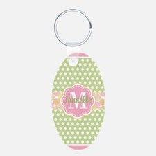 Personalized Green and Pink Keychains