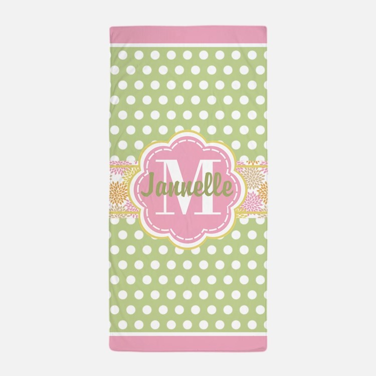 Personalized Green and Pink Polka Dots Beach Towel