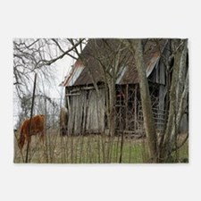 antique barn And Cows 5'x7'Area Rug