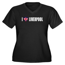 I Love Liverpool Women's Plus Size V-Neck Dark T-S