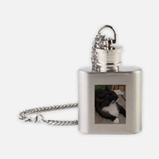 Black and White Cat Flask Necklace