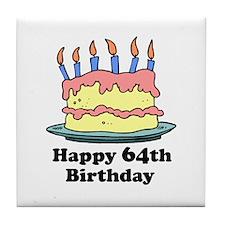 Happy 64th Birthday Tile Coaster