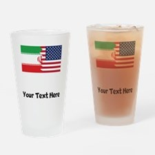 Iranian American Flag Drinking Glass
