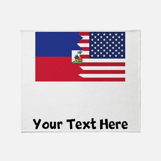 Haitian American Flag Throw Blanket