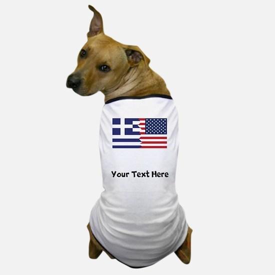 Greek American Flag Dog T-Shirt