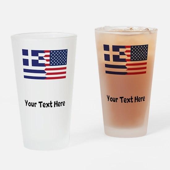 Greek American Flag Drinking Glass