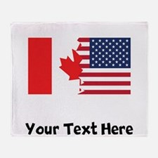 Canadian American Flag Throw Blanket