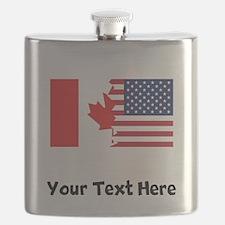 Canadian American Flag Flask