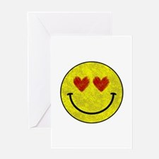Smiley face hearts Greeting Cards