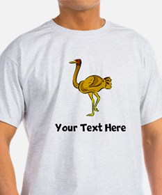 Brown Ostrich Drawing (Custom) T-Shirt