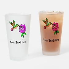 Hummingbird And Flower (Custom) Drinking Glass