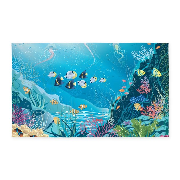 Sea life area rug by bestgear2 for Fish area rug