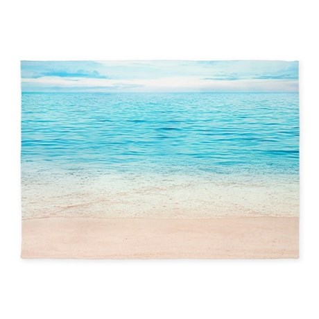 Elegant White Sand Beach 5u0027x7u0027Area Rug