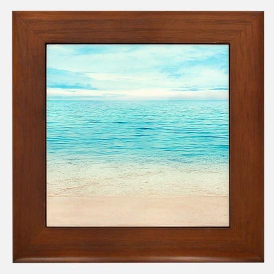 White Sand Beach Framed Tile
