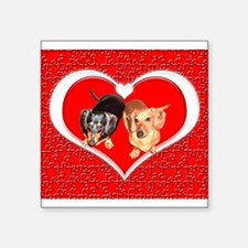 Love Dachshund Dogs Rectangle Sticker