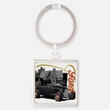 1932 Black Ford at filling station Keychains