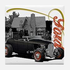 1932 Black Ford at filling station Tile Coaster