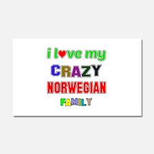 I love my crazy Norwegian famil Car Magnet 20 x 12