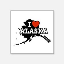"I Love Alaska Square Sticker 3"" x 3"""