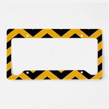 Black & Gold Chevron Zig Zag License Plate Holder