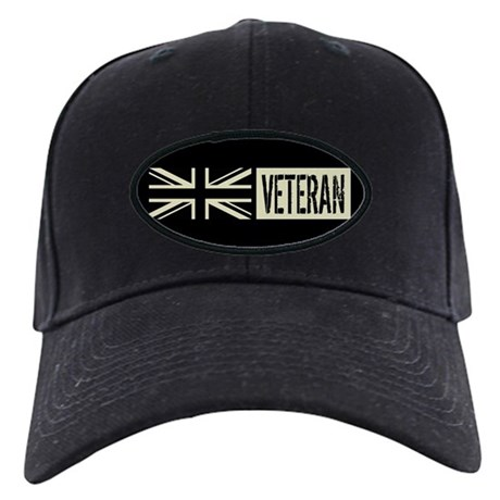 British Military Veteran Black Flag Baseball Hat By