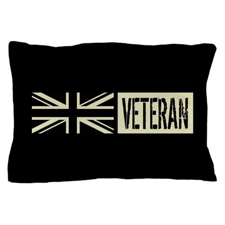 British Military Veteran Black Flag Pillow Case By