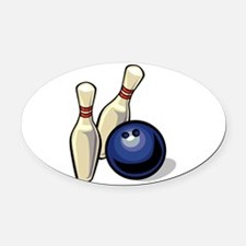 Bowling ball with pins.png Oval Car Magnet