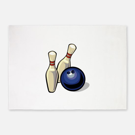 Bowling ball with pins.png 5'x7'Area Rug