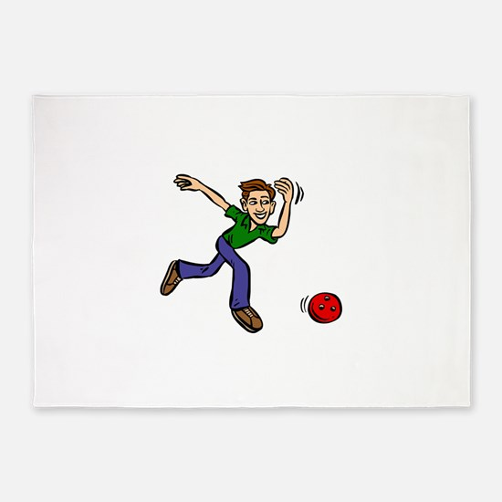 Bowler Guy blowing ball.png 5'x7'Area Rug