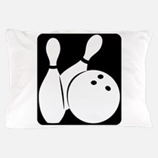 black Bowling two pins & ball Pillow Case