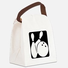 black Bowling two pins & ball Canvas Lunch Bag