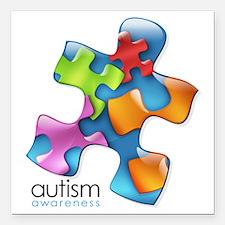 """puzzle-v2-5colors.png Square Car Magnet 3"""" x 3"""""""