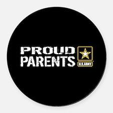U.S. Army: Proud Parents (Black) Round Car Magnet
