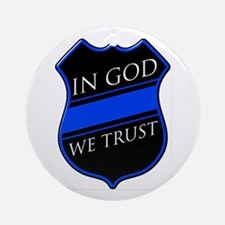 In God We Trust Blue Line Round Ornament