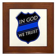In God We Trust Blue Line Framed Tile