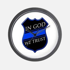 In God We Trust Blue Line Wall Clock