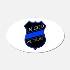 In God We Trust Blue Line Wall Decal