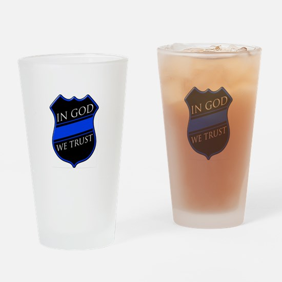In God We Trust Blue Line Drinking Glass
