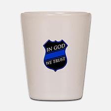 In God We Trust Blue Line Shot Glass