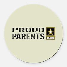 U.S. Army: Proud Parents (Sand) Round Car Magnet