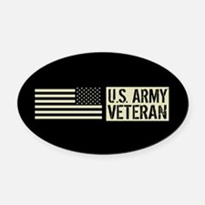 U.S. Army: Veteran (Black Flag) Oval Car Magnet
