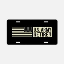 U.S. Army: Retired (Black F Aluminum License Plate
