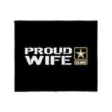 U.S. Army: Proud Wife (Black & Gold) Throw Blanket