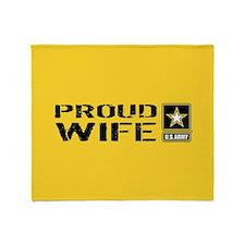 U.S. Army: Proud Wife (Gold & Black) Throw Blanket