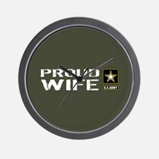 U.S. Army: Proud Wife (Military Green) Wall Clock
