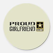 U.S. Army: Proud Girlfriend (Sand Round Car Magnet
