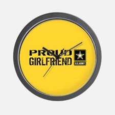 U.S. Army: Proud Girlfriend (Gold & Bla Wall Clock