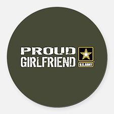 U.S. Army: Proud Girlfriend (Mili Round Car Magnet