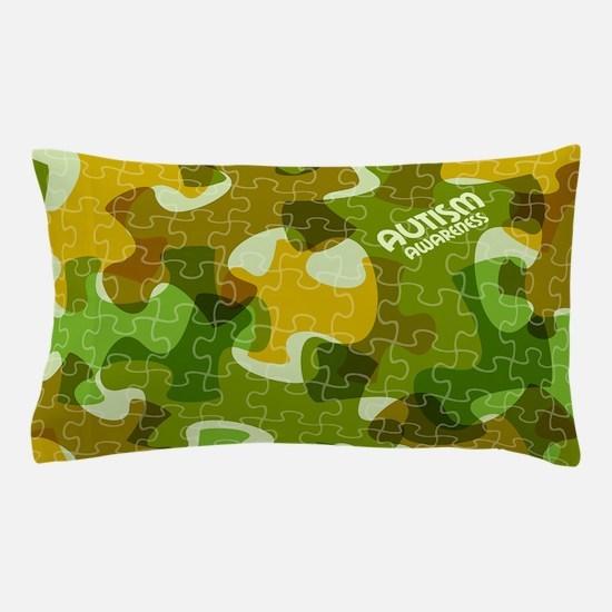 Autism Awareness Puzzles Camo Pillow Case