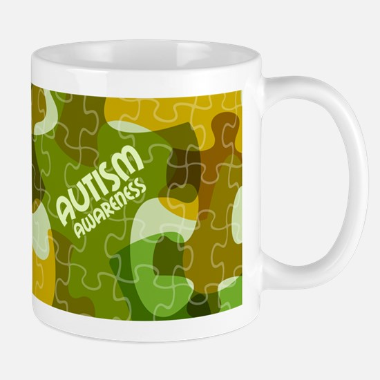 Autism Awareness Puzzles Camo Mugs